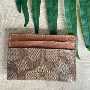 Coach tan leather card holder
